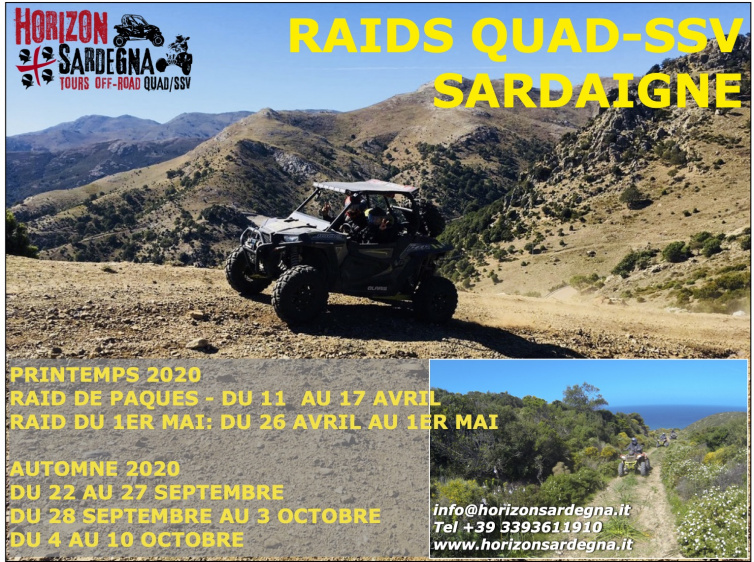 RAIDS QUAD/SSV en SARDAIGNE -  DATES 2020