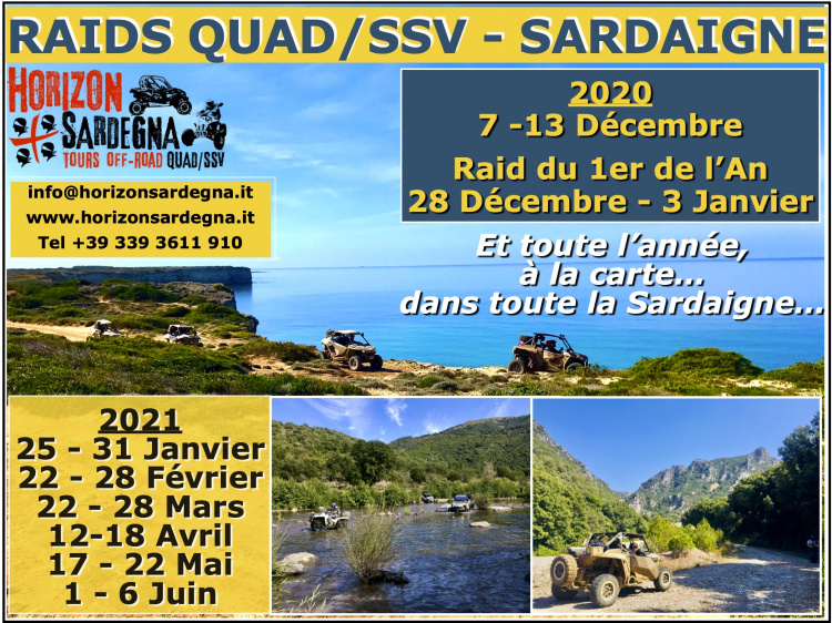 RAIDS QUAD/SSV en SARDAIGNE -  DATES 2020/2021