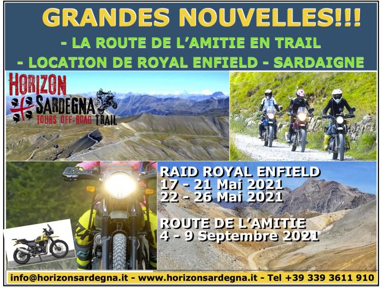 NOUVEAUTES POUR LES TRAILISTES !!!! ROYAL ENFIELD EN LOCATION ET ROUTE DE L'AMITIE